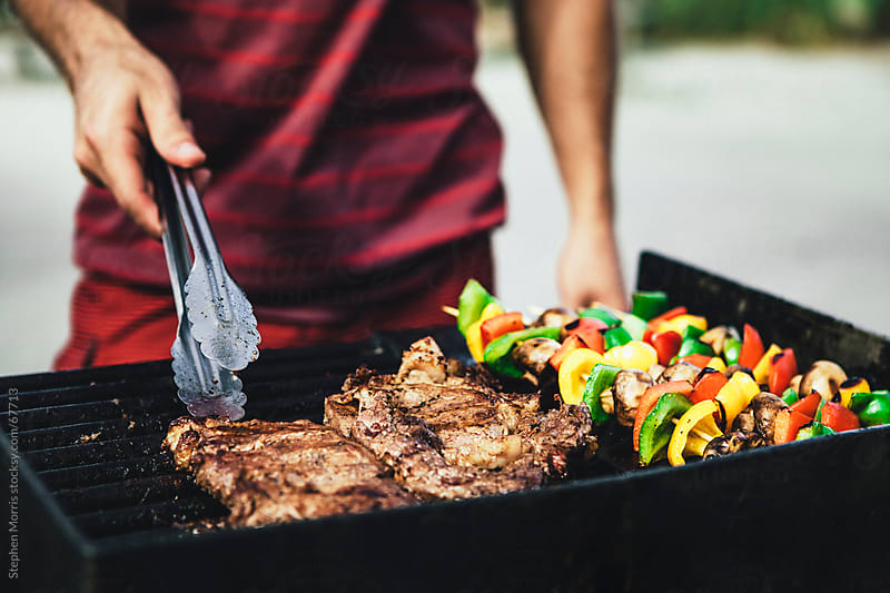 Steak and Vegetables on Grill by Stephen Morris for Stocksy United