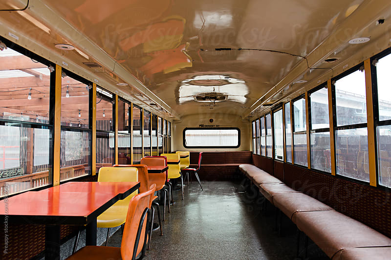 Retired bus converted to lounge by Preappy for Stocksy United
