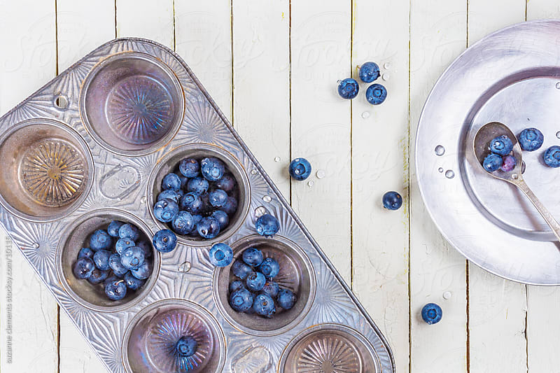 Fresh Organic Blueberries an Muffin Tin by suzanne clements for Stocksy United