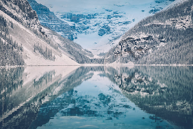 Beautiful mountain landscape scenery at Lake Louise in winter by Sarah Ehlen Photography for Stocksy United