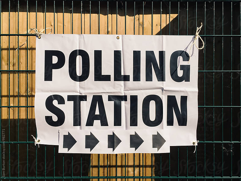 Polling station sign by Sam Burton for Stocksy United