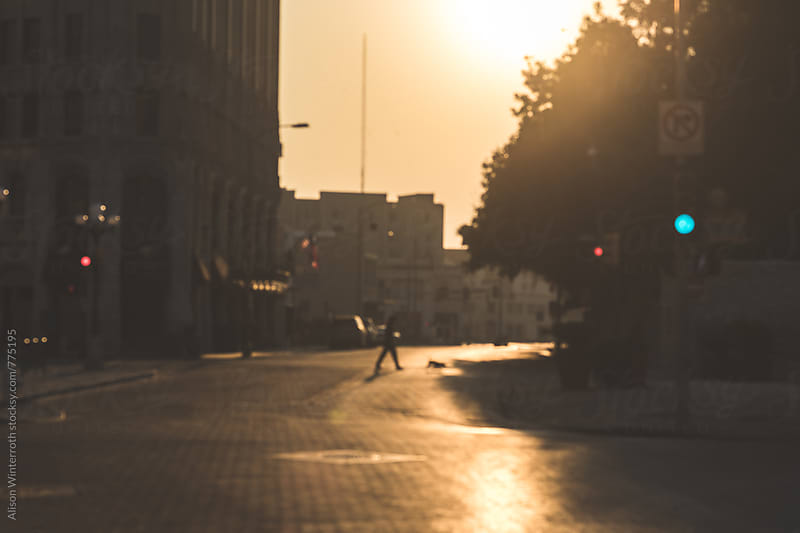 A Person Walks Their Dog In The City At Sunrise- Out Of Focus by Alison Winterroth for Stocksy United