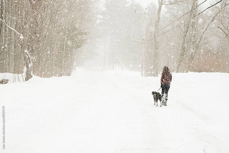 young woman walking her dog in the snow by Léa Jones for Stocksy United