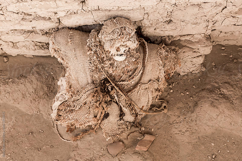Mummified remains at Chauchilla Peru by Ben Ryan for Stocksy United