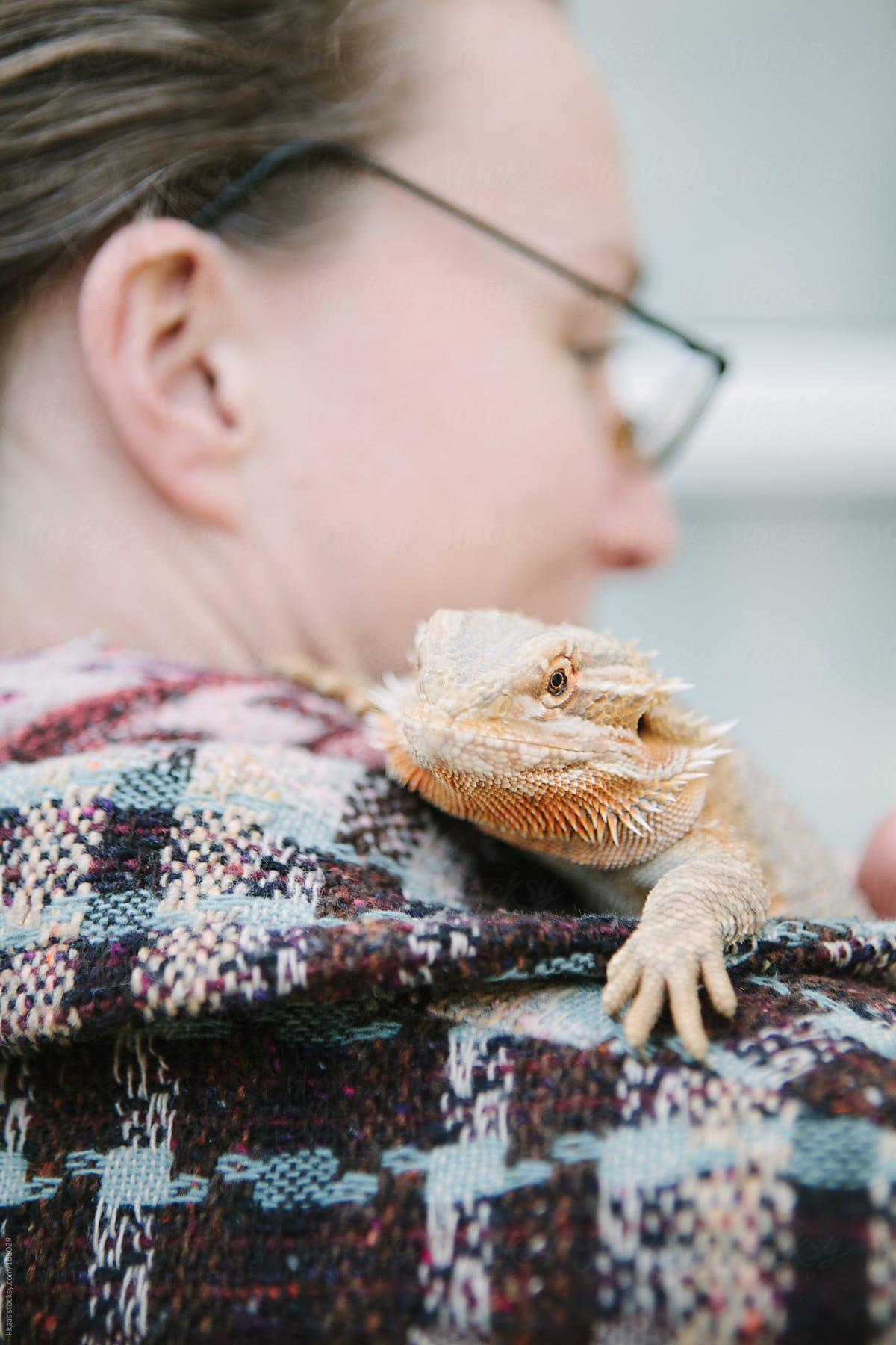Bearded Dragon on a woman's shoulder by kkgas - Stocksy United