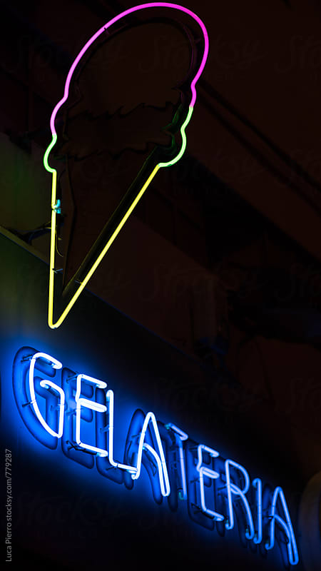 Gelateria neon lights by Luca Pierro for Stocksy United