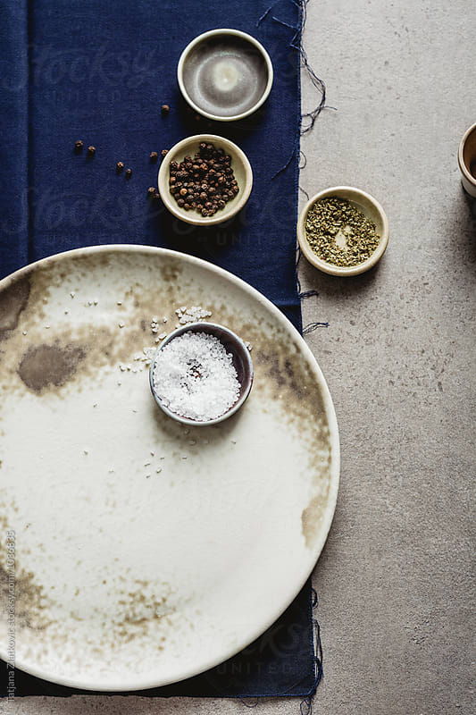 Ceramic plate with bowls by Tatjana Ristanic for Stocksy United