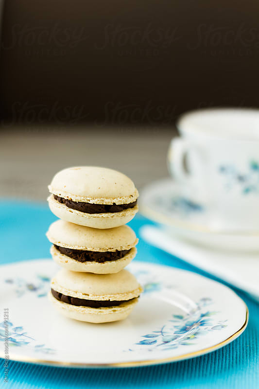 Three Macaron stack vertical by Kirsty Begg for Stocksy United