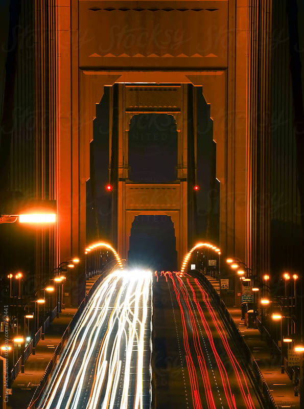 Night Traffic on Golden Gate by Casey McCallister for Stocksy United