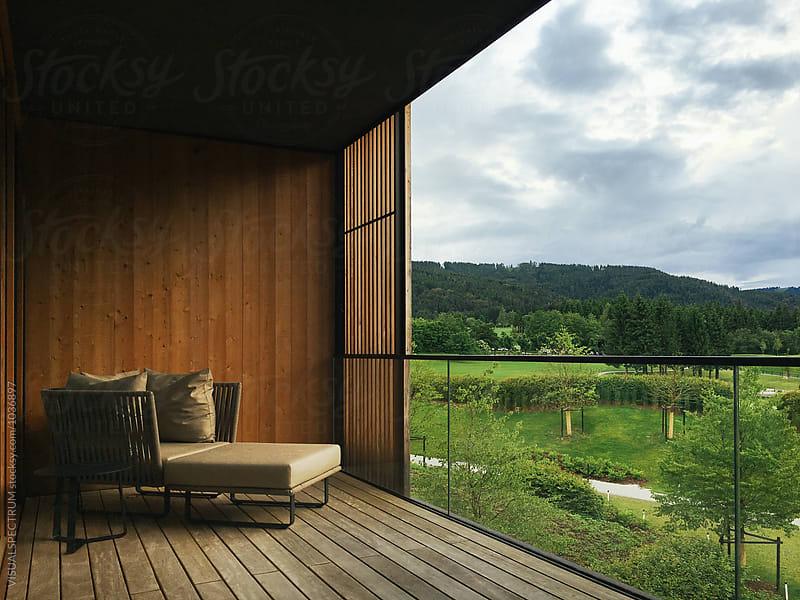 Deck Chair on Minimalist Wooden Balcony by Julien L. Balmer for Stocksy United
