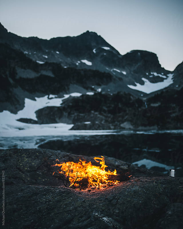 Fire by the Lake by Michael Overbeck Photography for Stocksy United