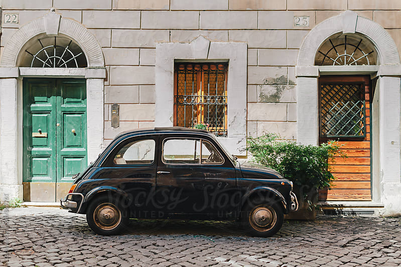 Small Retro Car Parked on the Street In Rome, Italy by Zocky for Stocksy United