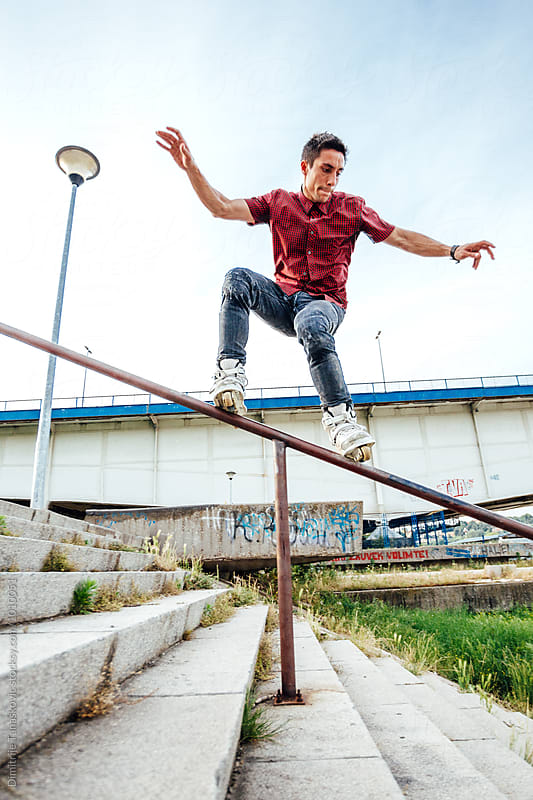 Man in skatepark  by Dimitrije Tanaskovic for Stocksy United