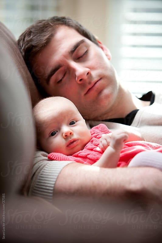 Baby: Dad Falls Asleep While Watching Baby by Sean Locke for Stocksy United