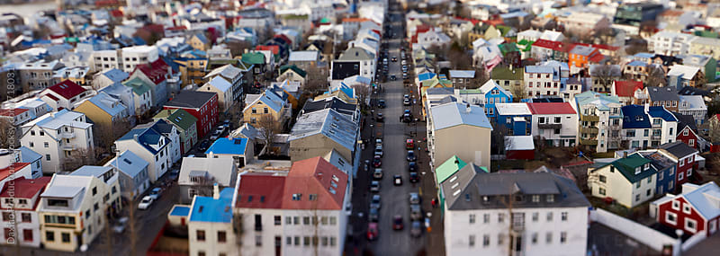 Reykjavik panorama tilt shift lens by Daxiao Productions for Stocksy United