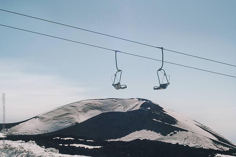 Ski lift on the Etna mountain by Aleksandra Jankovic for Stocksy United