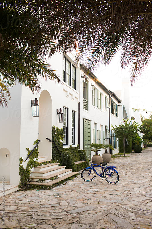 Outside view of home in Alys Beach, Florida by Nicole Mlakar for Stocksy United