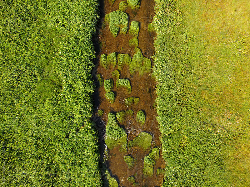 Aerial shot of river with green islands by rolfo for Stocksy United