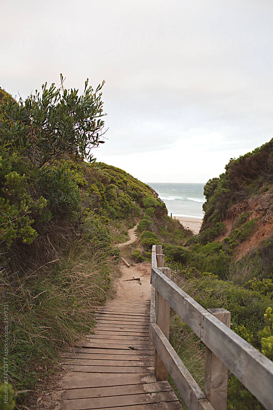 walking path access to beach by Natalie JEFFCOTT for Stocksy United