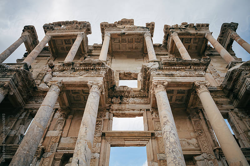 Looking up at the Library of Celsus in Ephesus, Turkey by Shelly Perry for Stocksy United