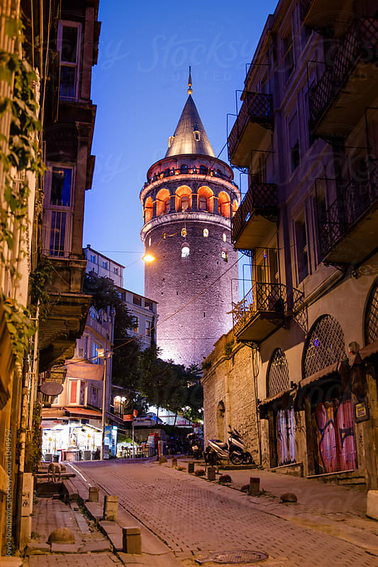 Galata tower at night by Jovo Jovanovic for Stocksy United