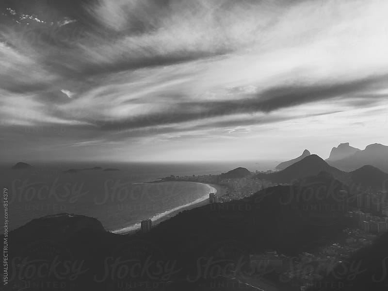 Rio de Janeiro's Copacabana Beach With Dramatic Sky in Black and White by Julien L. Balmer for Stocksy United