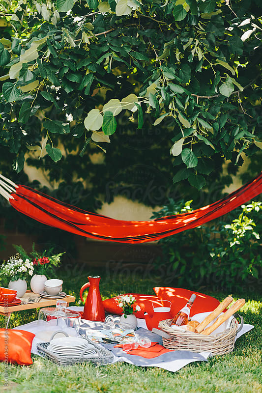 Picnic in the garden with red tableware decorative accents  by Borislav Zhuykov for Stocksy United