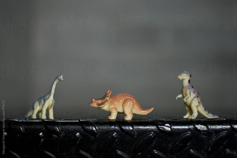 three tiny dinosaur toys by Margaret Vincent for Stocksy United