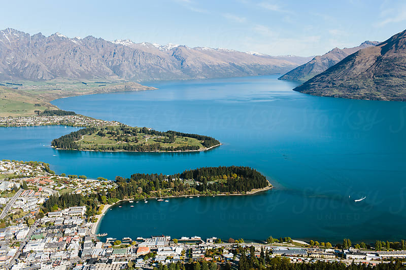 Aerial view of Queenstown and Lake Wakatip, New Zealand. by Cameron Zegers for Stocksy United