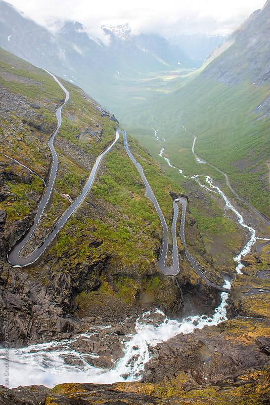Trollstigen, the famous road in Geiranger, Norway by Andreas Gradin for Stocksy United