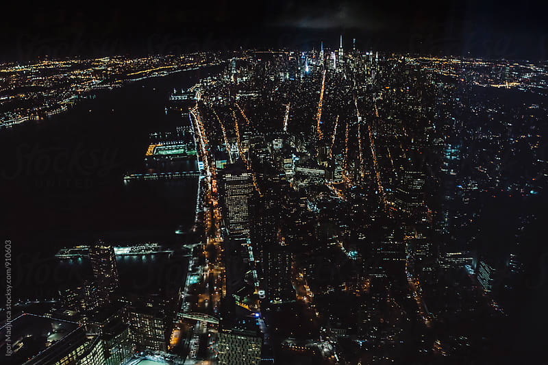 Night cityscape,view from 102 floor on the New York streets and buildings by Igor Madjinca for Stocksy United