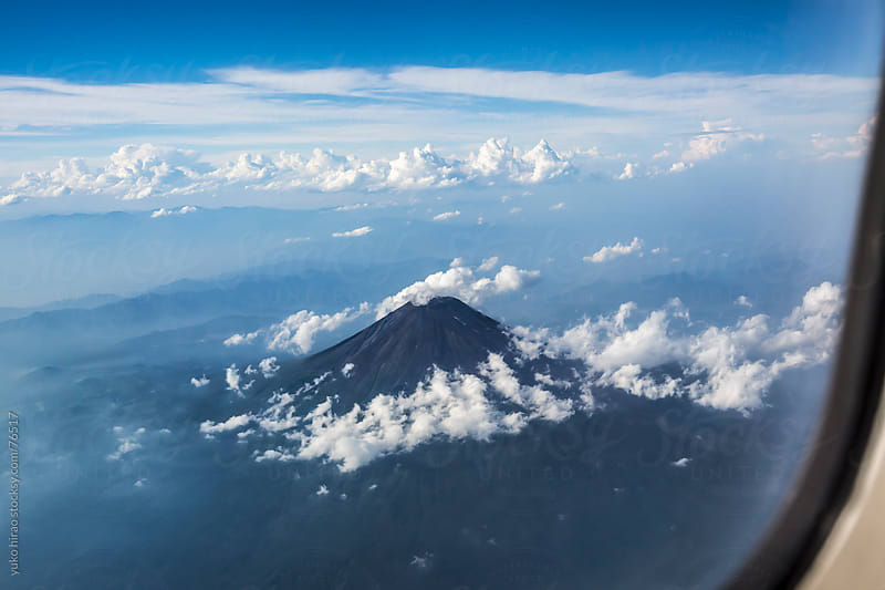 Aerial view of Mt. Fuji from airplane by yuko hirao for Stocksy United