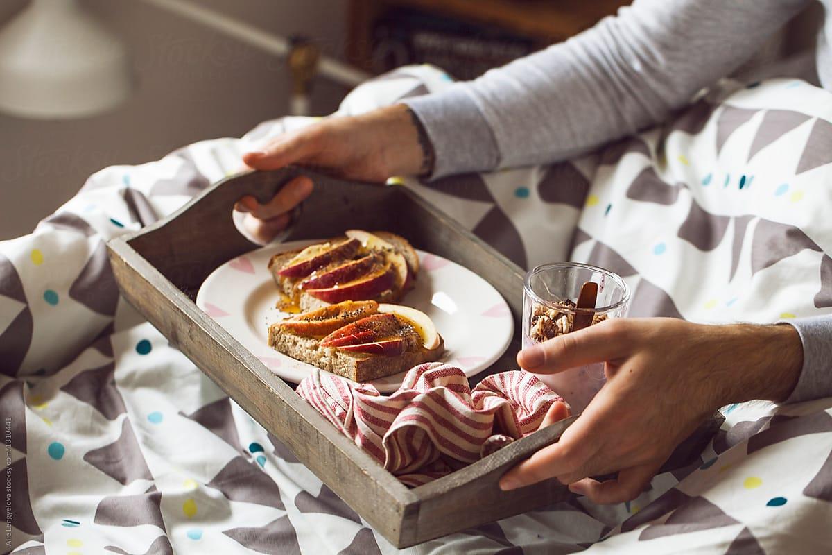 Healthy Breakfast In Bed By Alie Lengyelova Breakfast Love Stocksy United