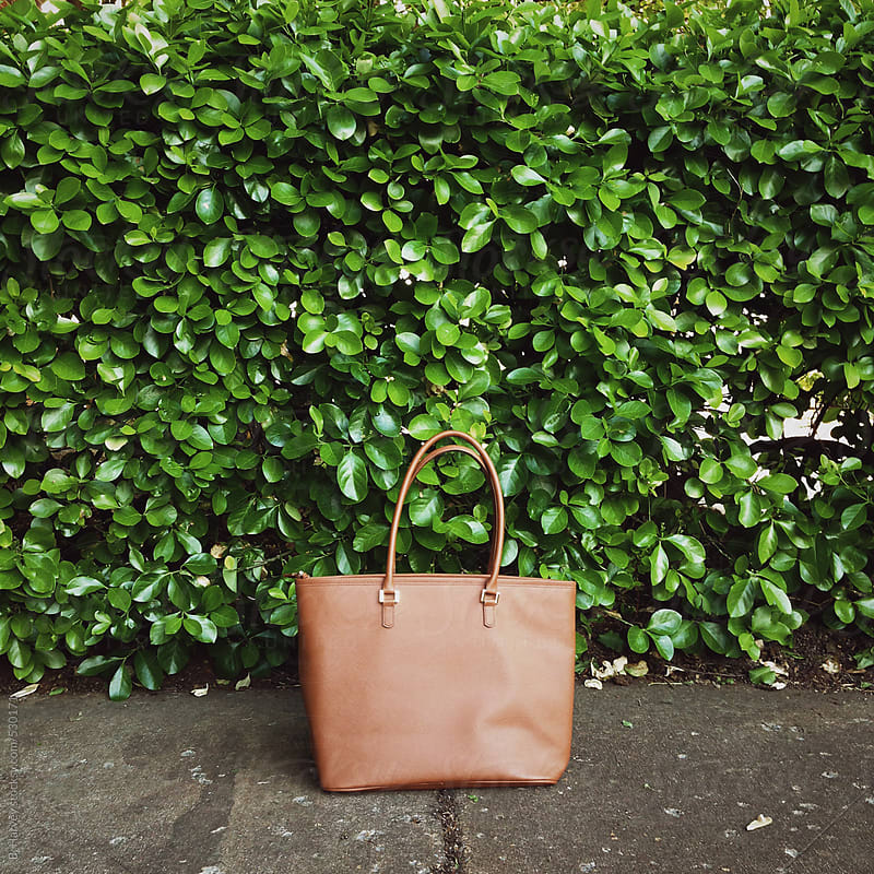 Handbag in Front of Green Bushes by B. Harvey for Stocksy United