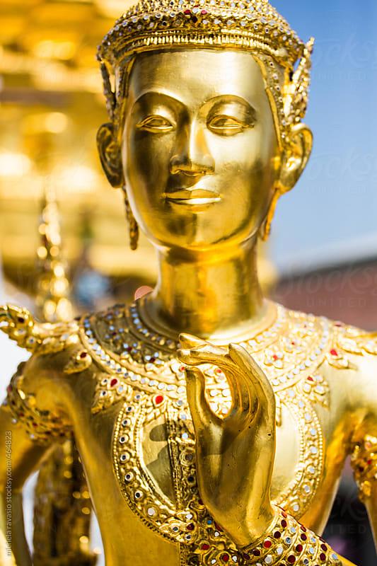 Golden Kinnari Statue in Grand Palace, Bangkok, Thailand by michela ravasio for Stocksy United