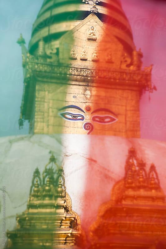 Close up of Swayambhunath Stupa. by Shikhar Bhattarai for Stocksy United