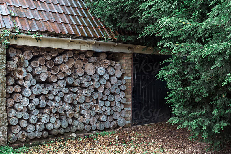 Stacked logs stored in a barn for winter. by Paul Phillips for Stocksy United