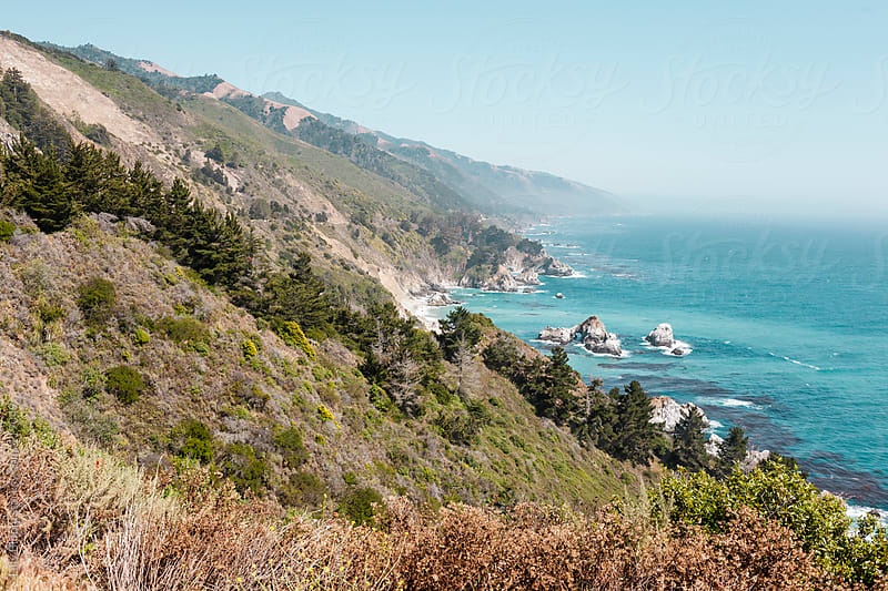 Scenic view of pacific coast close to highway 1 in california by Lilly Bloom for Stocksy United