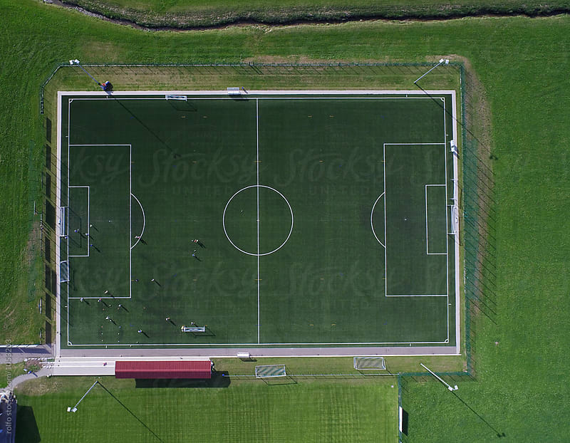 Football pitch from above by rolfo for Stocksy United