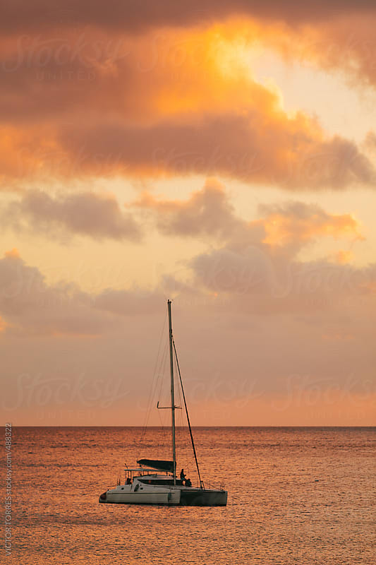 Catamaran Sailing at Sunset by VICTOR TORRES for Stocksy United