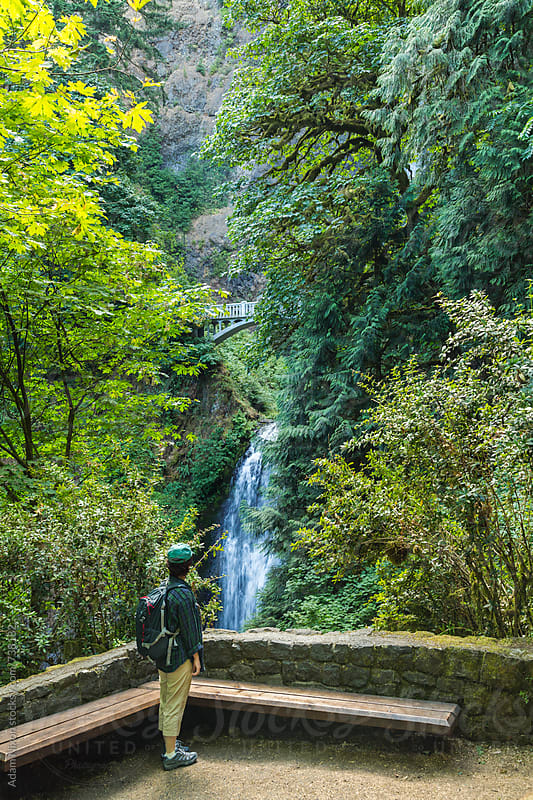 A female hiker looking at Multnomah Falls, Columbia River Gorge, Oregon by Adam Nixon for Stocksy United