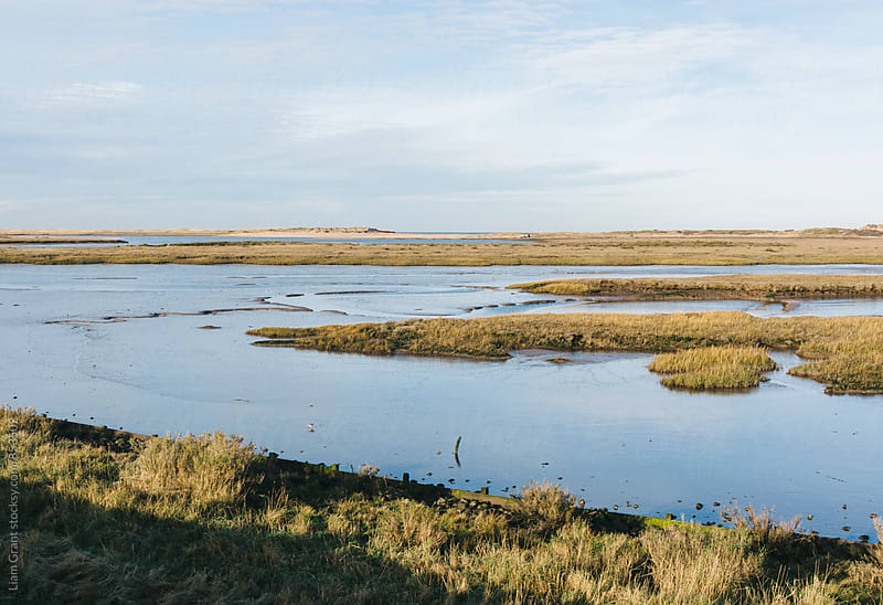 Low tide salt marsh at Burnham Overy Staithe, Norfolk, UK. by Liam Grant for Stocksy United