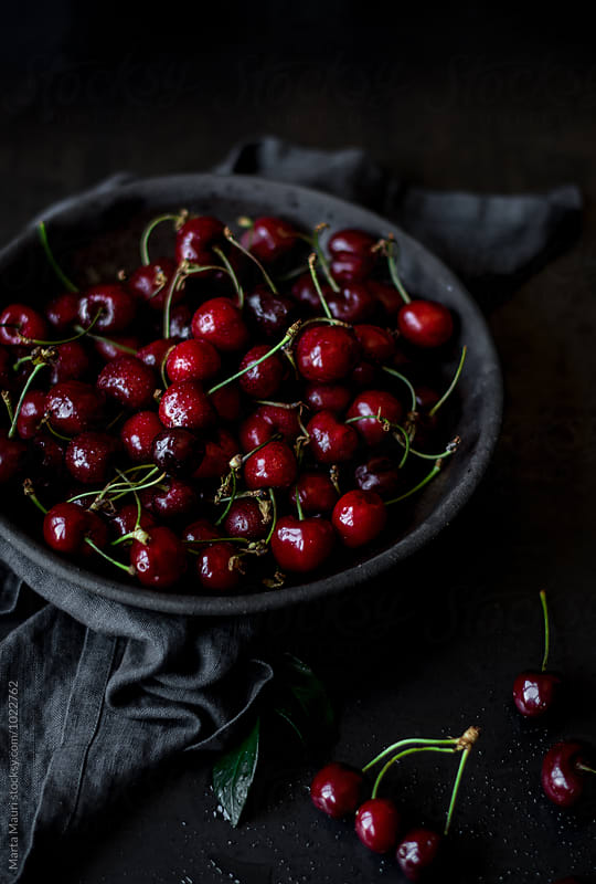 Cherries on a plate by KEMA Food Culture for Stocksy United