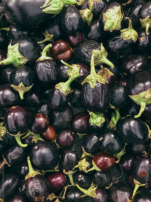 top view of black eggplants by Juri Pozzi for Stocksy United