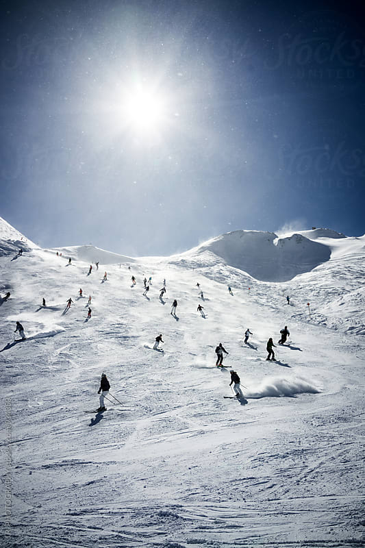 Skiers on the slope by J.R. PHOTOGRAPHY for Stocksy United