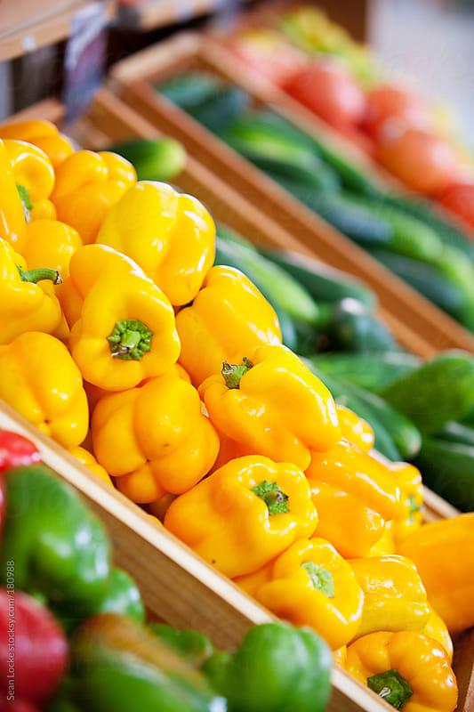 Market: Bin of Yellow Peppers by Sean Locke for Stocksy United