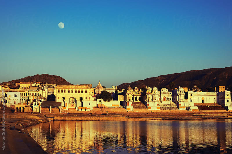 Full Moon Over The Sacred Lake, India by Alexander Grabchilev for Stocksy United