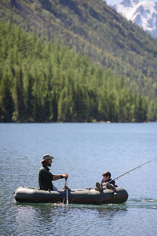 Father and Son Fishing by Milles Studio for Stocksy United