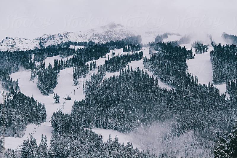 Ski resort view. Whistler Blackcomb ski trails covered in snow by Alejandro Moreno de Carlos for Stocksy United