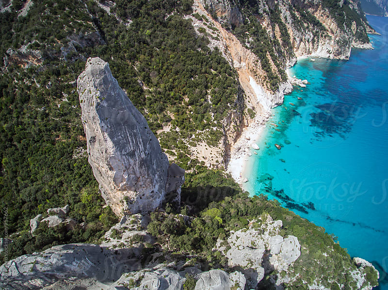 Aerial view of mediterranean beach, Sardinia by Luca Pierro for Stocksy United